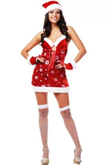 Новогоднее платье Соблазнительная снегурка, 4200руб. Купить эротический костюм снегурочки.